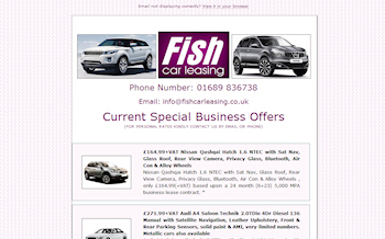 Photo: HTML email advert for Fish Car Leasing