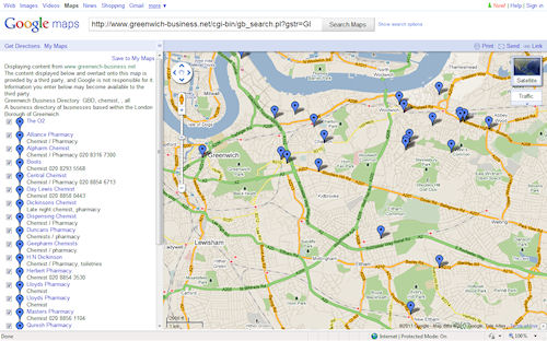 Photo: Geo search results in Google Maps