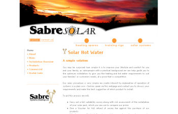 Sabre Systems - Solar water heating website